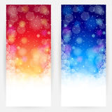 Set of festive red and blue backgrounds. Set of red and blue festive backgrounds with circles, snowflakes, stars and shining Stock Images