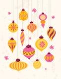 Set of festive retro Christmas ornaments 50s style. ÑŽ vector illustration