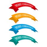 Set of festive ribbons or banners. Vector illustration. Set of colored Christmas ribbons or ribbons. Vector illustration. Festive ribbons, isolated on white Royalty Free Stock Photos