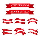 Set of festive ribbons or banners. Vector illustration. Set of red Christmas and New Year ribbons. Vector illustration. Festive ribbons, isolated on white Stock Image