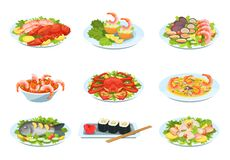 Set of festive seafood dishes, delicacies with beautiful presentation. Festive seafood dishes food cooked modern delicacies with a presentation on the plate stock illustration