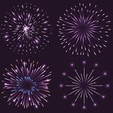 Set of festive sparkling fireworks. Bursting in different shapes with light and glowing effects. Isolated vector illustration Stock Photos