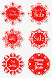 Set of festive stickers snowflakes with the text Royalty Free Stock Photo