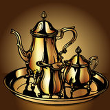 Set festive with teapot and dairyman Royalty Free Stock Image