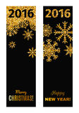 Set of festive vertical banners. Set of festive vertical banners with gold tinsels. Background for congratulations on Christmas and New Year Stock Photo
