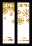 Set of festive vertical banners. Set of festive vertical banners with gold tinsels. Background for congratulations on Christmas and New Year Stock Image