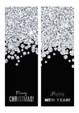 Set of festive vertical banners. Set of festive vertical banners with silver tinsels. Background for congratulations on Christmas and New Year Stock Photos