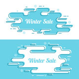 Set of festive winter banner. Winter sale. Holiday discount. Outline line art Royalty Free Stock Image