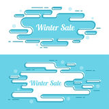 Set of festive winter banner. Winter sale. Holiday discount. Outline line art Royalty Free Stock Photos