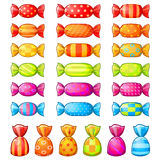 Set of festive wrapped candies Royalty Free Stock Image