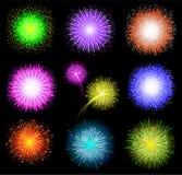 Set festliche farbige Feuerwerke auf schwarzem backgrou Stockfotos