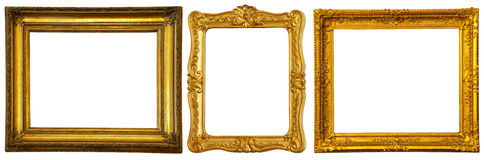 Set of few gold frames Royalty Free Stock Photos