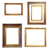 Set of few gold frames. Isolated over white background Stock Photo