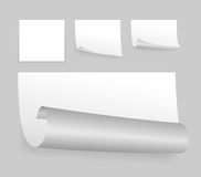 White adhesive papers. Set of few little white adhesive papers Royalty Free Stock Photos