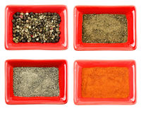 Set of few various kindes of dry pepper, spice and aromatic Stock Photos