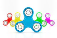 Set of fidget spinners. Set of colorful fidget spinners with different colors Very popular toy for distress relief. 3d render illustration Royalty Free Stock Photography