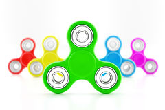 Set of fidget spinners. Set of colorful fidget spinners with different colors Very popular toy for distress relief. 3d render illustration Stock Photo