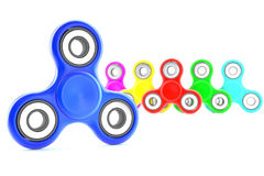Set of fidget spinners. Set of colorful fidget spinners with different colors Very popular toy for distress relief. 3d render illustration Stock Images
