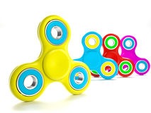 Set of fidget spinners. Set of colorful fidget spinners with different colors Very popular toy for distress relief. 3d render illustration Royalty Free Stock Photos