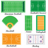 Set of fields for sport games. Stock Photos