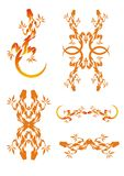 Set of fiery lizards. Vector illustration of fiery lizards isolated on a white background. A pattern from lizards Stock Image