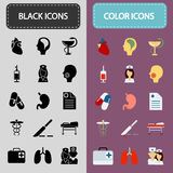 Set of fifteen black and color medicine icons Stock Photo