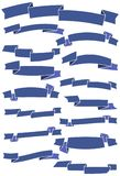 Set of fifteen blue cartoon ribbons and banners for web design. Royalty Free Stock Image