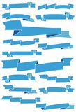 Set of fifteen blue cartoon ribbons and banners for web design. Stock Photos