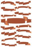 Set of fifteen brown cartoon ribbons and banners for web design Royalty Free Stock Image