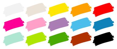 Set Of Fifteen Brushstrokes Color royalty free illustration