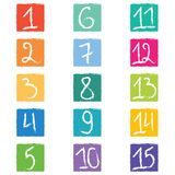 Set of fifteen colorful number tags in squares with jagged edges Stock Images