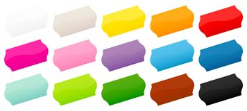 Set Of Fifteen Colorful Price Tags Sticker Diagonal vector illustration