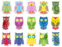 Set of fifteen colourful owls Royalty Free Stock Image