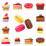 Set of fifteen delicious desserts for a menu Royalty Free Stock Image