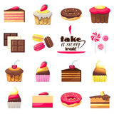 Set of fifteen delicious desserts Royalty Free Stock Photo