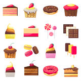 Set of fifteen delicious desserts Royalty Free Stock Images
