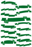 Set of fifteen green cartoon ribbons and banners for web design Stock Images
