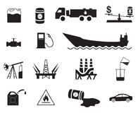 Set of fifteen oil production and distribution/transportation icons. Set of 15 black oil production and transportation vector icons. Tanker and fuel energy icons stock illustration