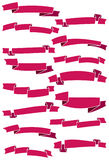 Set of fifteen pink cartoon ribbons and banners for web design Stock Images