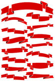 Set of fifteen red cartoon ribbons and banners for web design. Royalty Free Stock Photos