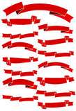 Set of fifteen red cartoon ribbons for web design. Great design element  on white background. Stock Images