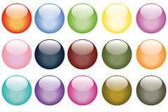 Set of fifteen web buttons. Set of fifteen glass looking web buttons Stock Image