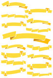 Set of fifteen yellow cartoon ribbons and banners for web design. Great design element isolated on white background. Royalty Free Stock Photo