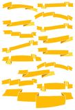 Set of fifteen yellow cartoon ribbons and banners Stock Photos