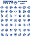 A set of fifty different shapes of snowflakes. Royalty Free Stock Photos