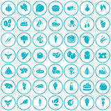 Set of fifty food icons Royalty Free Stock Photography