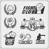 Set of fighting club emblems, labels, badges and design elements. Vector Stock Image