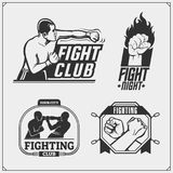 Set of fighting club emblems, labels, badges and design elements. Vector Stock Photos