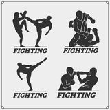 Set of fighting club emblems, labels, badges and icons. Vector Stock Image