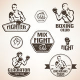 Set of fighting club emblems, MMA, boxing Stock Images
